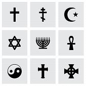 pic of triskele  - Vector religious symbols icon set on grey background - JPG