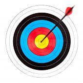 foto of bullseye  - Archery target with arrow in the bullseye - JPG