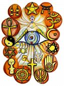 stock photo of hamsa  - Interfaith conceptual painting representing unity of all religions - JPG