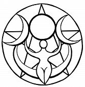 foto of wiccan  - Black and White triple moon goddess wiccan artwork - JPG
