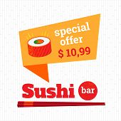 foto of sushi  - Sushi poster special offer on rolls - JPG
