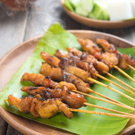 image of sate  - Yummy chicken sate or satay - JPG