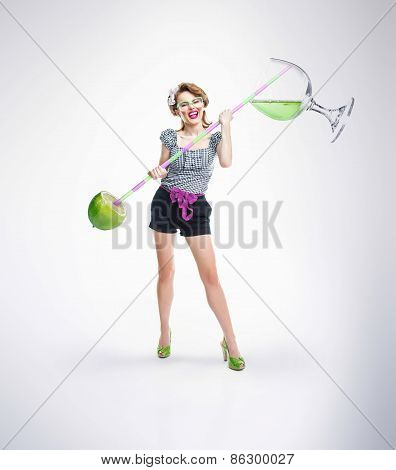 Woman With Fruits And Cocktail Holding Drinking Straw, Creative Idea Of Pin Up Girl, Isolated