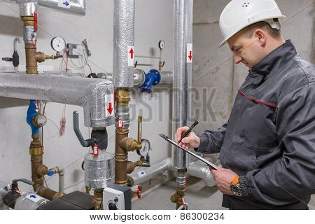 Engineer in boiler room