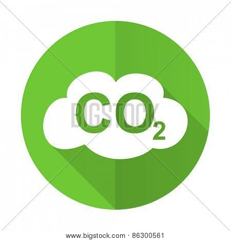 carbon dioxide green flat icon co2 sign
