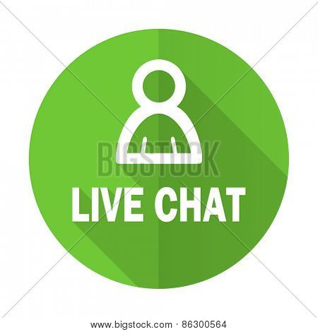 live chat green flat icon