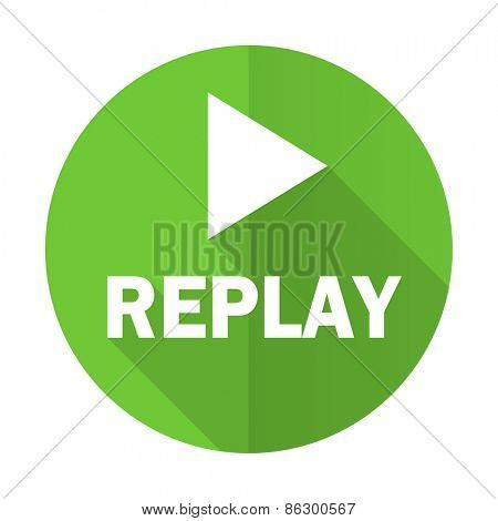 replay green flat icon