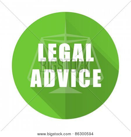 legal advice green flat icon law sign