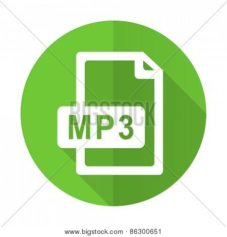 mp3 file green flat icon