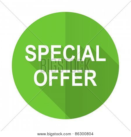 special offer green flat icon