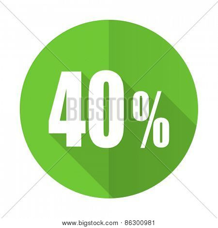 40 percent green flat icon sale sign