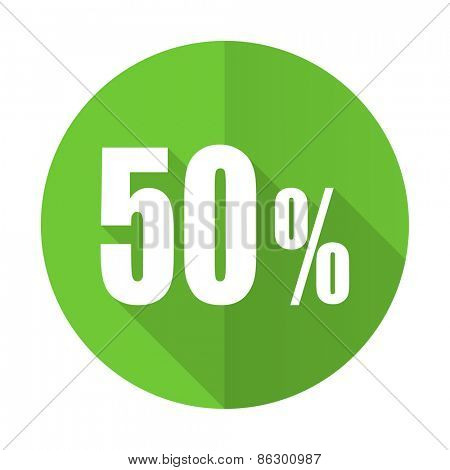 50 percent green flat icon sale sign