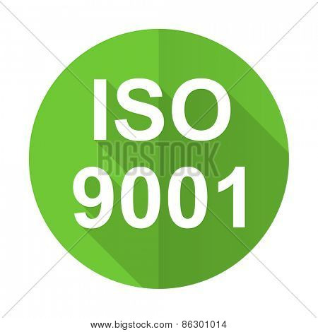 iso 9001 green flat icon