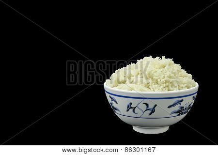 Bowl Of Natural Organic Cooked Rice On Black