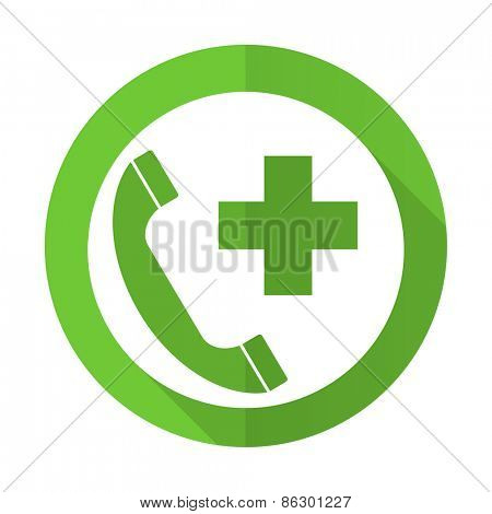 emergency call green flat icon