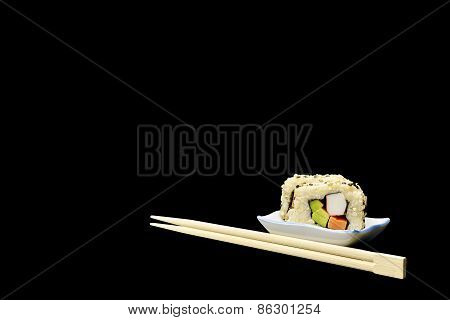 Natural Organic Brown Rice Sushi On Black
