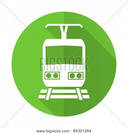 train green flat icon public transport sign