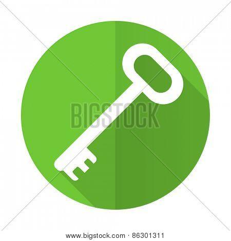 key green flat icon secure symbol