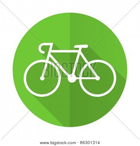 bicycle green flat icon bike sign