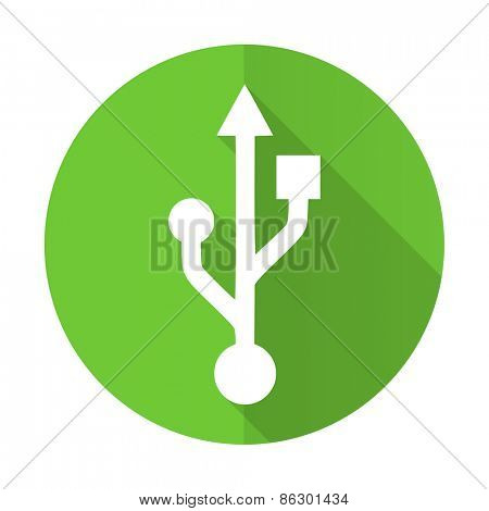 usb green flat icon flash memory sign