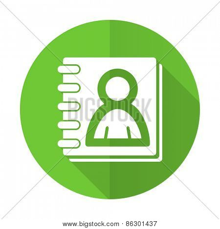 address book green flat icon