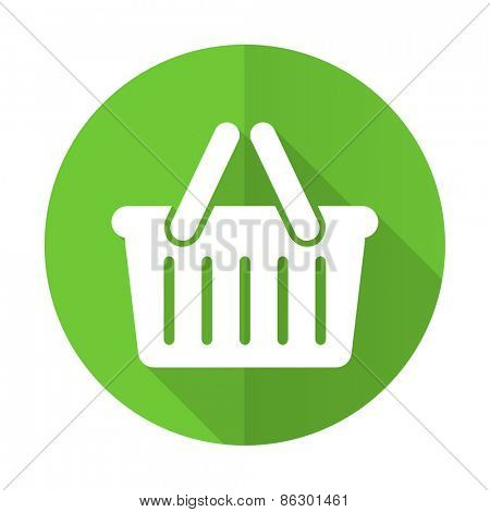 cart green flat icon shopping cart symbol