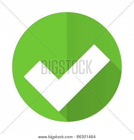 accept green flat icon check sign