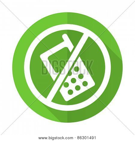 no phone green flat icon no calls sign