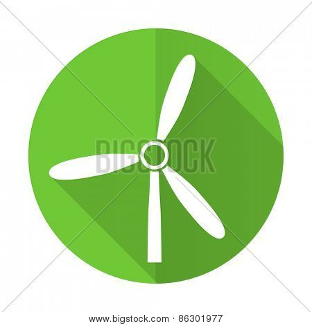 windmill green flat icon renewable energy sign
