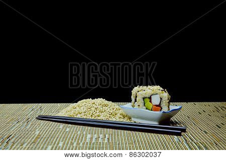 Natural Organic Raw And Cooked Brown Rice Sushi