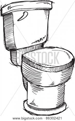 Doodle sketch Toilet Vector Illustration Art