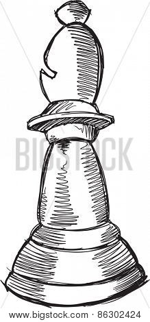 Doodle Sketch Chess Bishop Vector Illustration Art