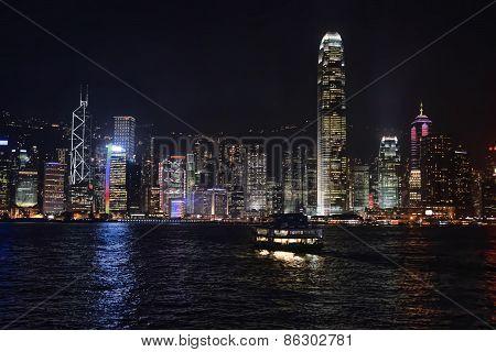Hong Kong Bay And Night Skyline
