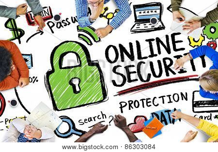 Online Security Protection Internet Safety People Meeting Concept