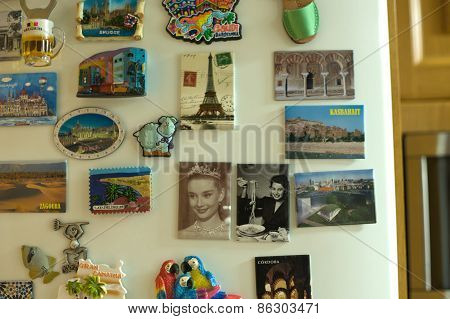 Souvenir Magnets Sticked On The Fridge Of Home