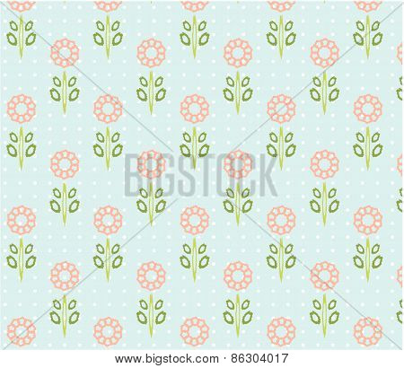 Vintage natural, seamless patterns with pink flowers with green leaves, white dots, blue background,