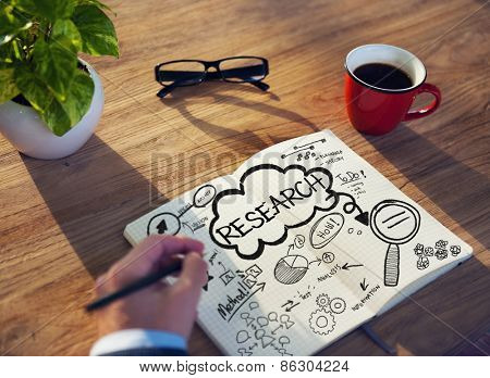 Man Writing Planning Research Facts Solution Information Concept
