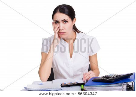 Upset Business Woman Thinking