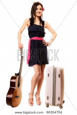 Music Lover, Summer Girl With Guitar And Suitcase