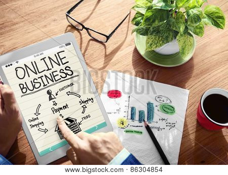 Online Business Marketing Strategy Planning Concept