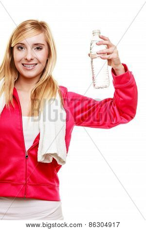 Sporty Girl Towel On Shoulders Drinking Water