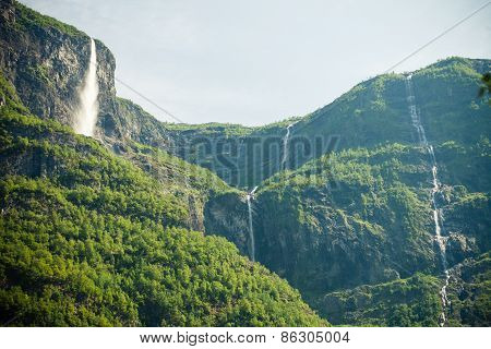 Beautiful Waterfalls In Norway Fjords