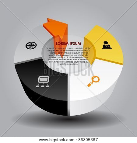 Abstract template with round and arrow. Vector illustration
