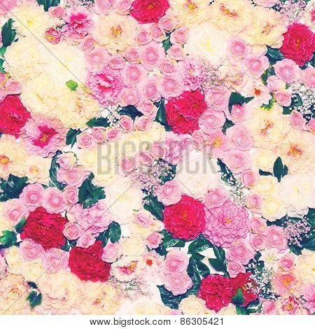 Background Of Many Flowers, Gentle Pastel Toned Colors Photo