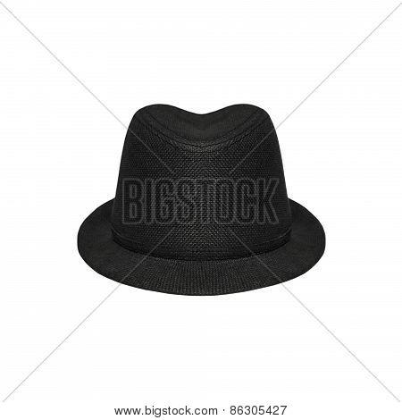 Black Elegant Hat On A White Background