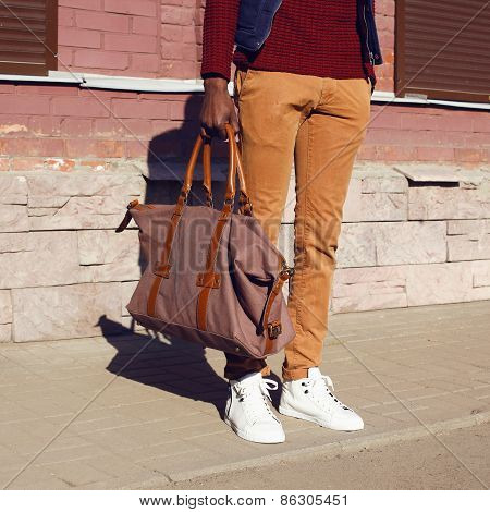 Fashion Male Look. Detail Of Trendy Clothes Stylish Young Handsome Man Outdoors In The City