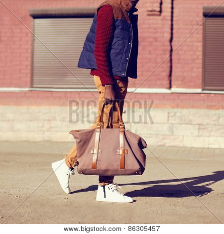 Fashion Male Look. Trendy Stylish Handsome Man Walking Outdoors In The City