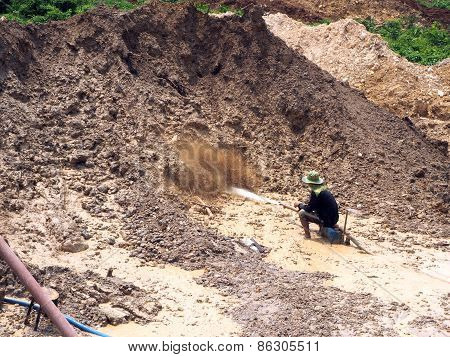 Chanthaburi Thailand - Mar 19 2015 Local People Working In The Gemstones Mine In Chanthaburi Thailan