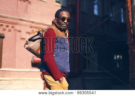 Outdoor Fashion Portrait Of Handsome Stylish African Man In Evening