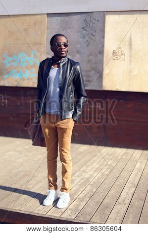 Outdoor Fashion Portrait Of Stylish Young African Man Standing In The City